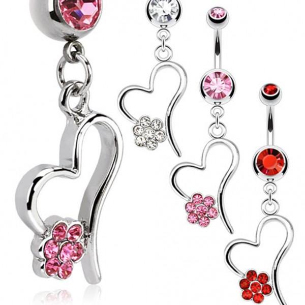 "Bauchnabelpiercing ""Heart Flower"" 3 Farben Multi Color"