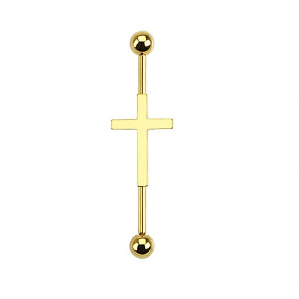 Tapsi´s Coolbodyart® Barbell Chirurgenstahl mit Kreuz in gold, schwarz, stahl-silber