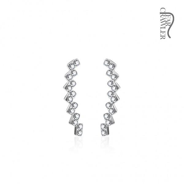 Ear-Crawler Ohrmanschette Ohrklemme aus Messing rhodiniert mit Kristallen
