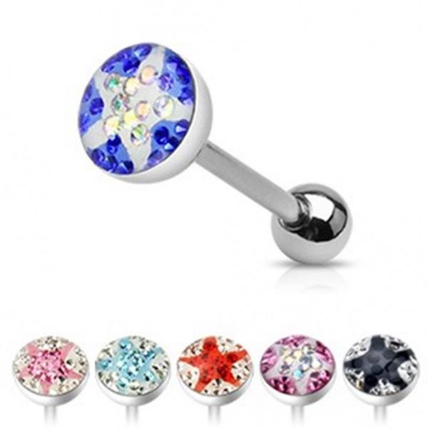 Kristall Zungen Piercing Star 6 Farben zur Wahl