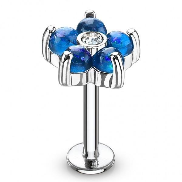Tapsi´s Coolbodyart®| Labret Monroe Lippenpiercing Chirurgenstahl 316L Glitter Opal Imitation Versch