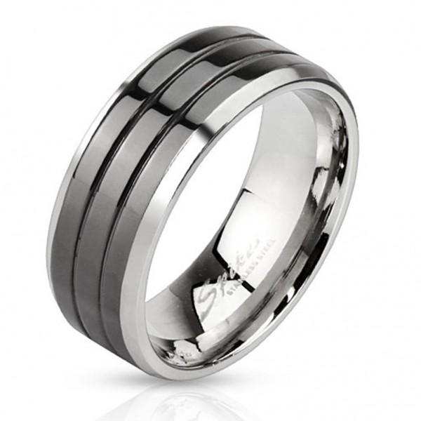 Coolbodyart Edelstahl Unisex Ring silber schwarz Grooved Line 3 Streifen