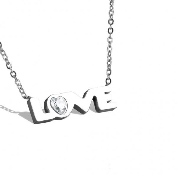Tapsi´s Coolbodyart®| Halskette Edelstahl 316L Anhänger Love , Zirkonia Klar