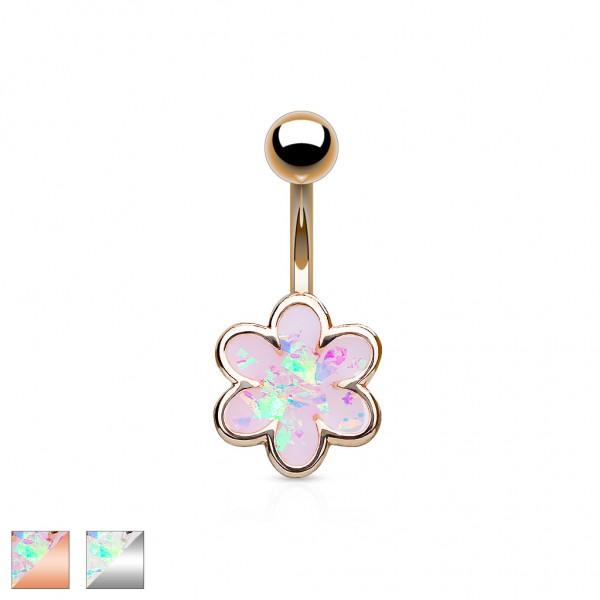 Tapsi´s Coolbodyart® Bauchnabelpiercing Chirurgenstahl 316L mit Opal besetzter Blume