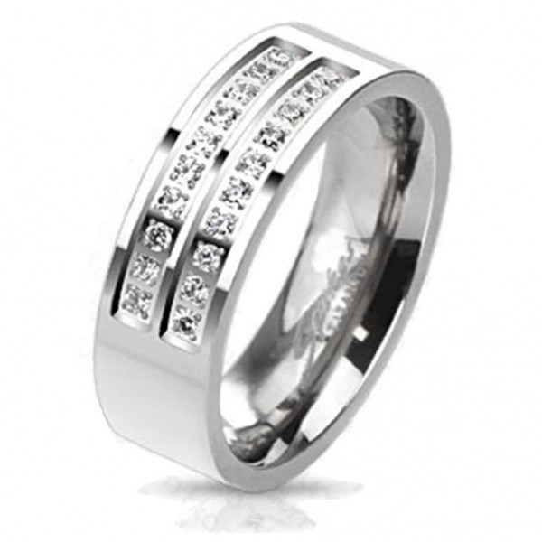 "Coolbodyart Unisex Titan Ring silber ""Double Micro Zirkonia"""