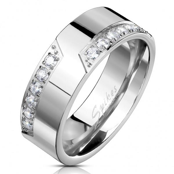 Tapsi´s Coolbodyart®| Fingerring Bandring Edelstahl Silber Glänzend Poliert Fräsung 12 Stck. Zirkoni