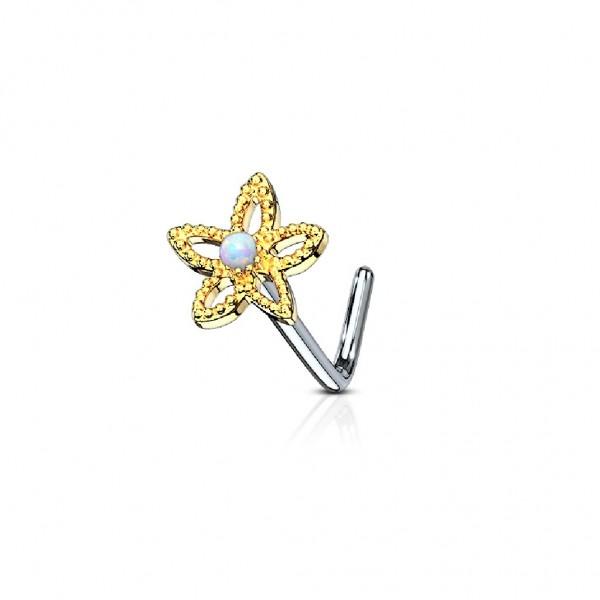 Tapsi´s Coolbodyart®| Nasenpiercing L Stecker Gebogen Chirurgenstahl 316L Silber,Gold,RoséGold 6mm O