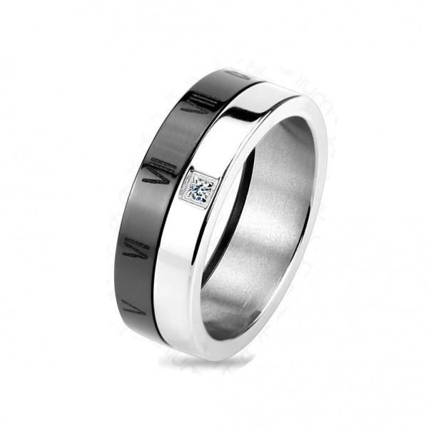 Titan Ring silber 7mm breit Römische Ziffern schwarz & Steine 60 (19) - 66 (21)