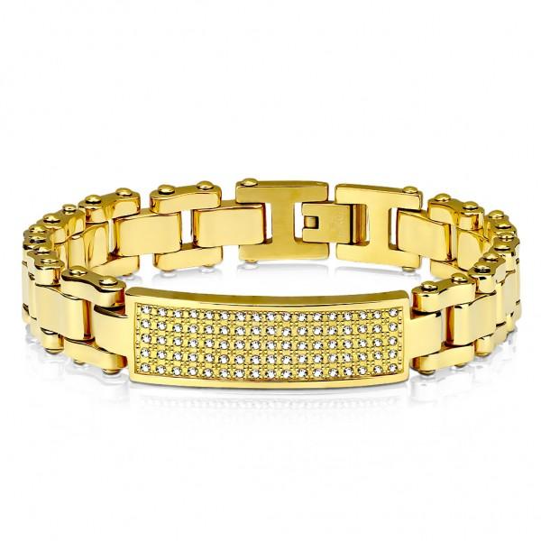 Damen Herren Armband Gliederarmband Gold mit Schmuckplatte besetzt mit Zirkonia