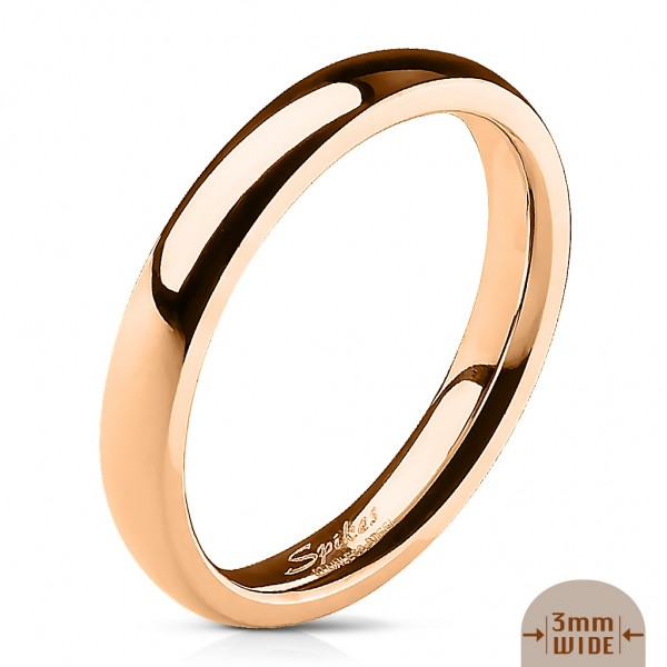 Edelstahl Unisex Ring rosegold 3mm breit Classic Line Dome Band