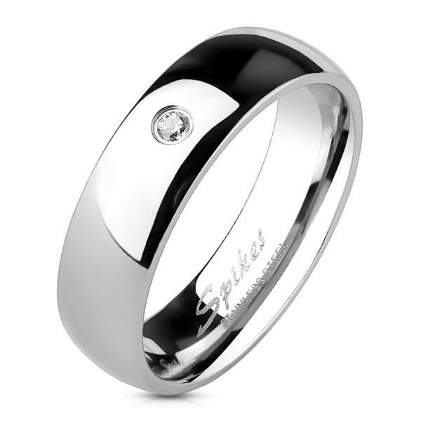 Klassik Damen Ring silber poliert Zirkonia 9 Gr Edelstahl