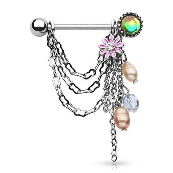 Brustwarzenpiercing silber Edelstahl Anhänger mit Ketten, Perlen und Blume