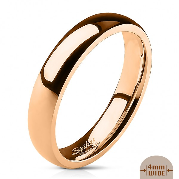Edelstahl Unisex Ring rosegold 4mm breit Classic Line Dome Band