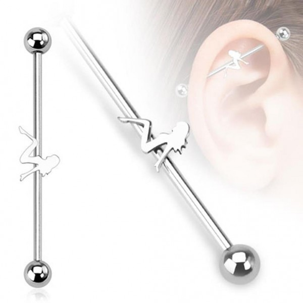 "Unisex Inlay Industrial Piercing Sexy Girl ""Erotic"" 38mm"
