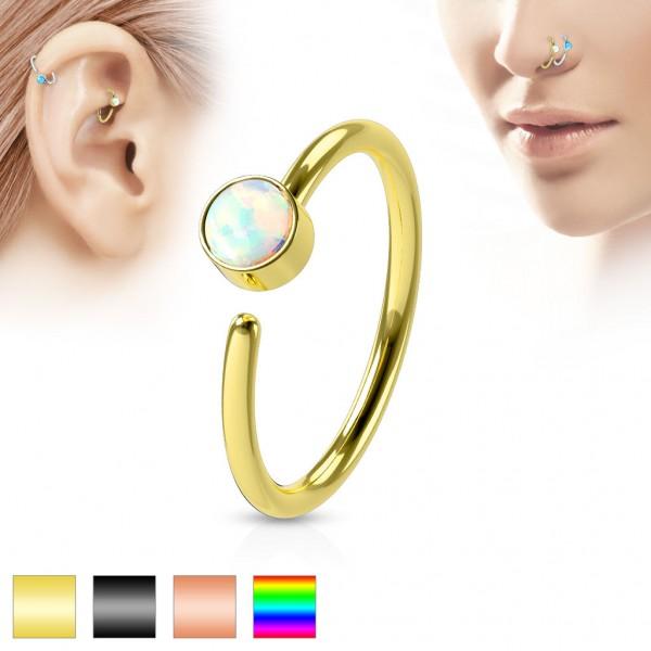 Tapsi´s Coolbodyart® Hoop Piercing Ring Edelstahl-Chirurgenstahl für Ohr und Nase mit Opal in weiß
