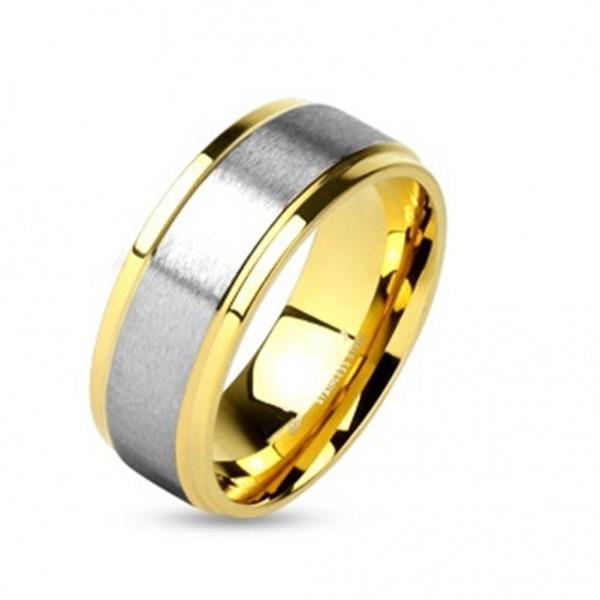 Edelstahl Ring gold 6-8mm breit Aufsatz silber gebürstet 47 (15) - 69 (22)
