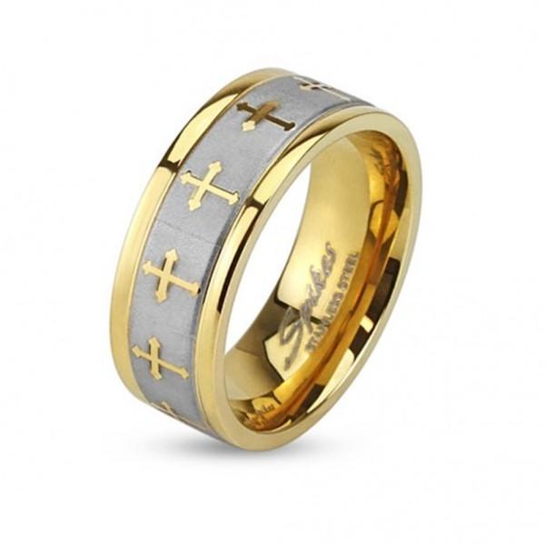 Edelstahl Ring silber 6mm breit vergoldet keltischen Kreuzen 47 (15) - 69 (22)