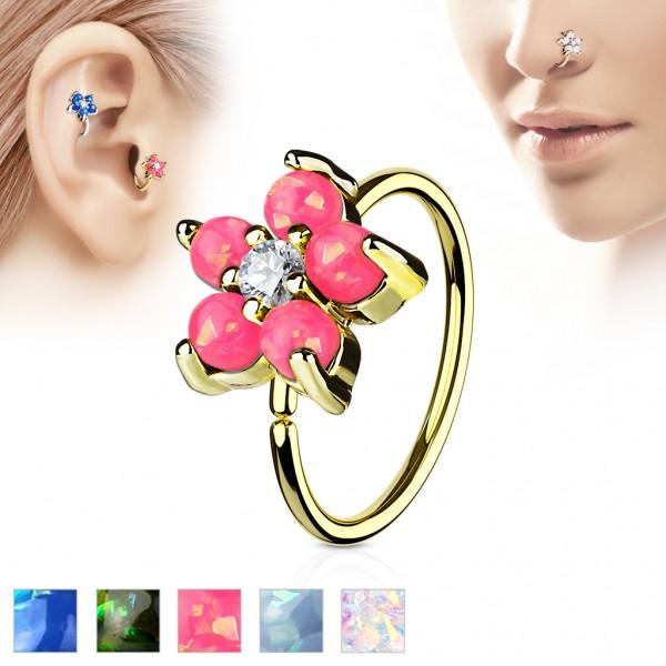 Tapsi´s Coolbodyart® Hoop Ring für Nase/Ohr gold mit Zirkonia und Opal Blume