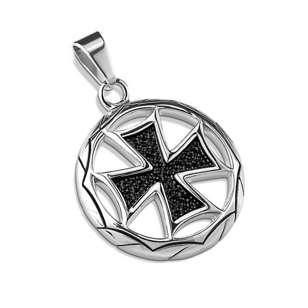Tapsi´s Coolbodyart® Statement Kettenanhänger Edelstahl Eisernes Kreuz Medaillon Rund Schwarz Silber