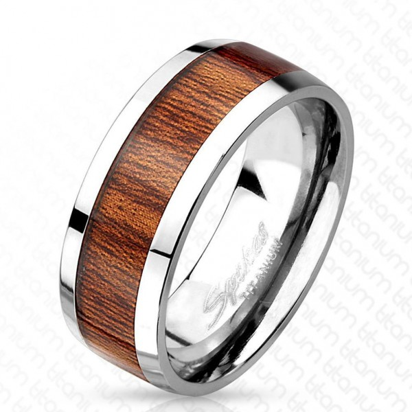 Titan Ring silber 8mm breit Muster Holz 60 (19) - 66 (21)