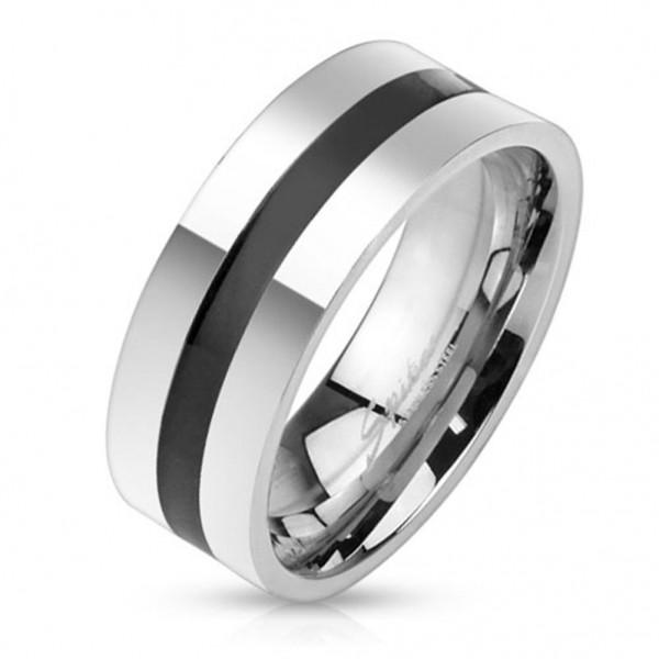 Coolbodyart Edelstahl Unisex Ring silber Basic Black Line 60 (19) - 69 (22)