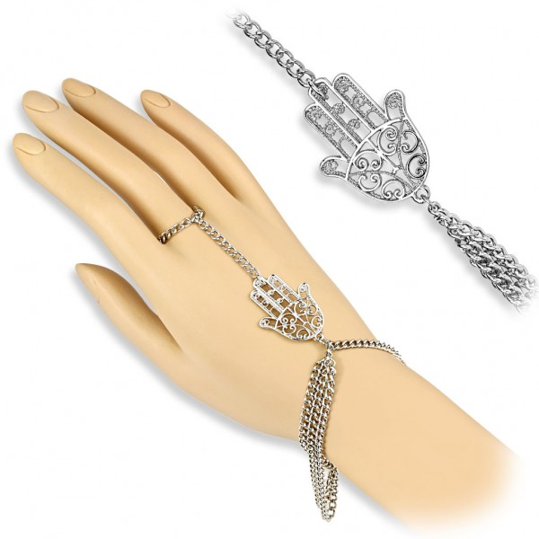 Coolbodyart Damen Armband Sklavenarmband Vintage Style mit Hamsa Hand Charm M...