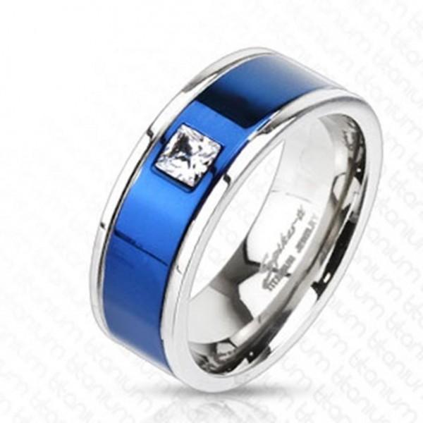 Titan Ring silber 8mm breit blaues Band mit Steinen 53 (17) - 69 (22)