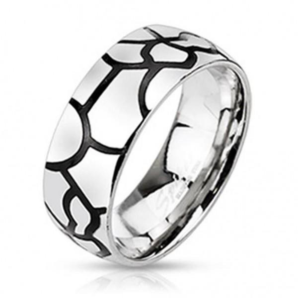 """Herren Damen Ring Fingerring Edelstahl silber """"Black Line Stripe"""""""