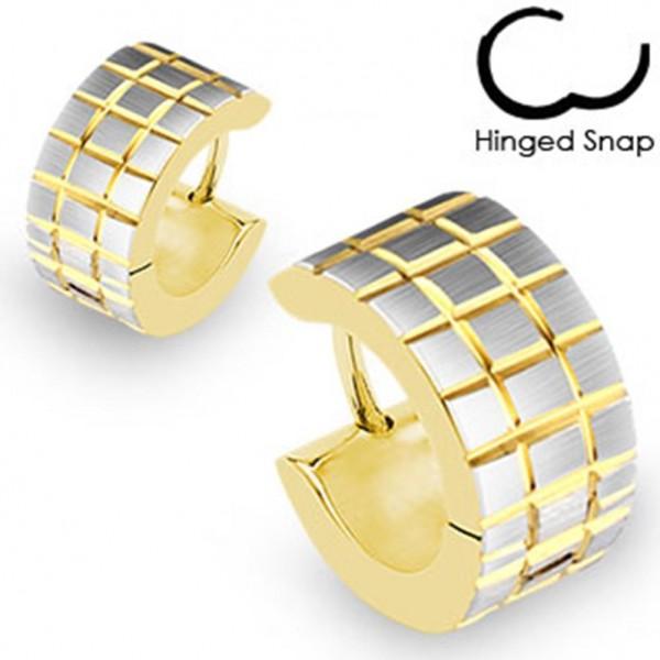 1 Paar silber/ goldene Ohrringe Creolen Viereck gebürstet