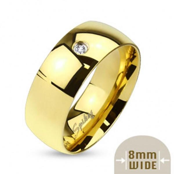 Edelstahl Unisex Ring gold 8mm breit Classic Line Single Zirkonia