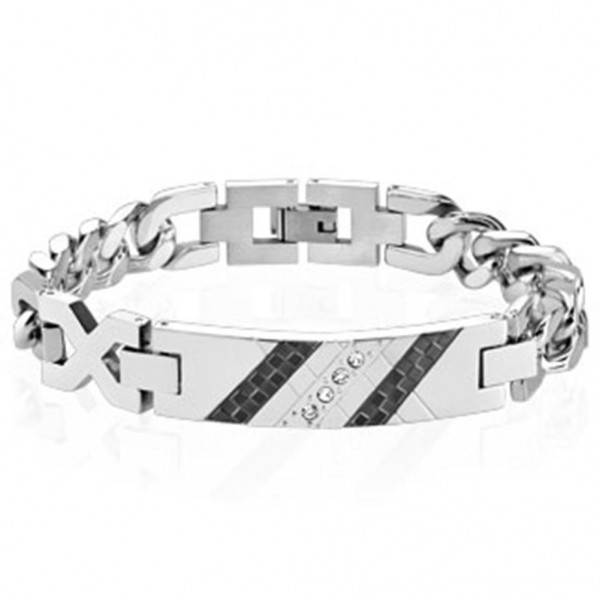 Armband silber schwarz Edelstahl Checkered Zirkonia Platte Länge mm: 200 o 210