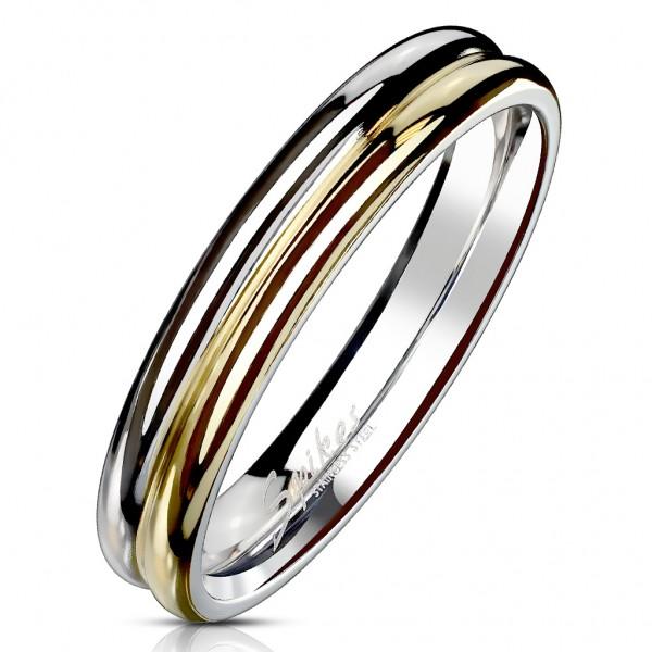 Tapsi´s Coolbodyart®| Fingerring Domering Edelstahl 316L Doppeldome Zwei Ton Silber-Gold Größe 47(15