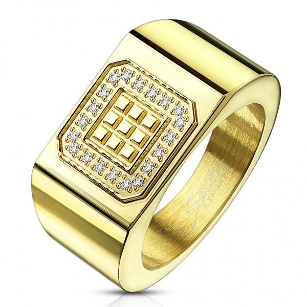 Tapsi´s Coolbodyart®  Fingerring Siegelring Edelstahl Gold Quadratische Blöcke Zirkonia umrandet Grö