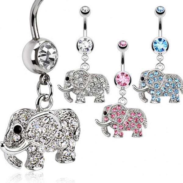 "Bauchnabelpiercing ""Elefant"" 3 Farben Multi Color Zirkonia"