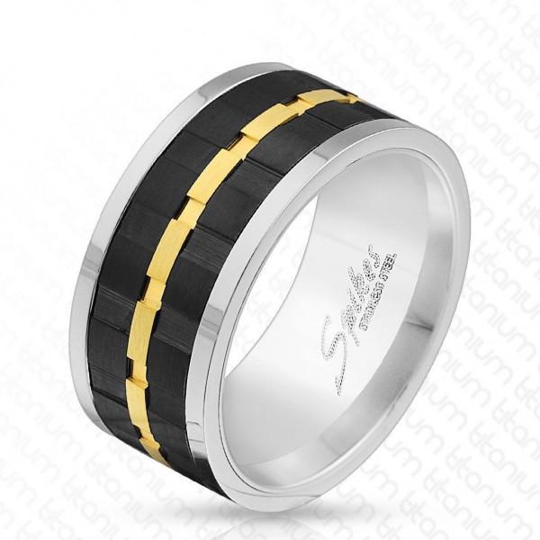 Titan Ring silber 10mm breit Spinner Schwarz-Gold Band 60 (19) - 69 (22)