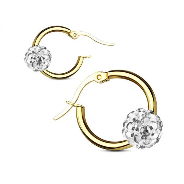 Coolbodyart Damen 1 Paar Ohrringe goldener Reifen mit Kristallball