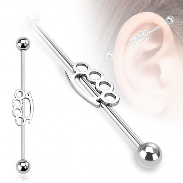 "Barbell Industrial Piercing ""Brassknuckle"" 38mm Chirurgenstahl"