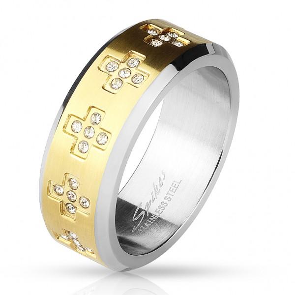 Fingerring Freundschaftsring, Verlobungsring, Ehering gold mit Zirkonia Kreuzen