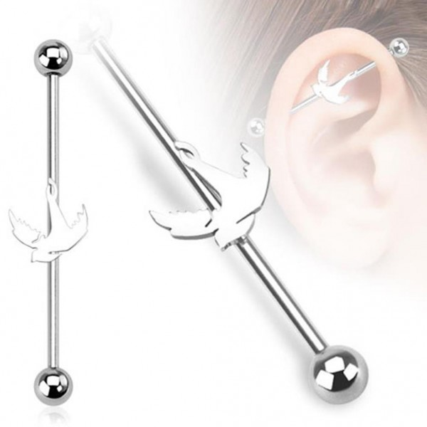 "Coolbodyart Unisex Inlay Industrial Piercing ""Steel Bird"" 38mm"