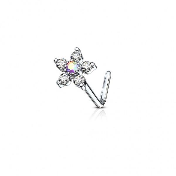 Tapsi´s Coolbodyart®| Nasenpiercing L Stecker Gebogen Chirurgenstahl 316L Silber,Gold,RoséGold Blume