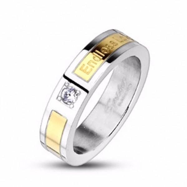 Fingerring Damen Edelstahl Ring silber gold Zirkonia Endless Love