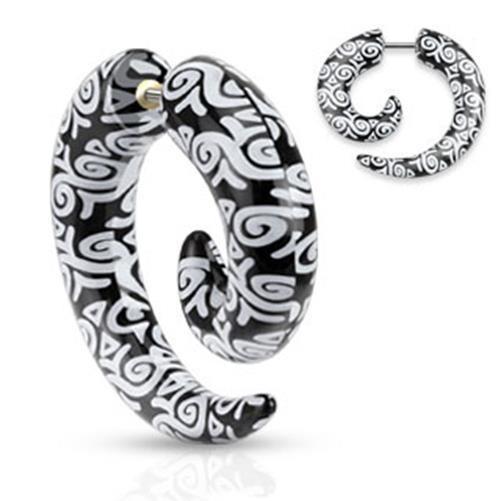 Spiralenförmiger Fake Taper schwarz weißes Muster
