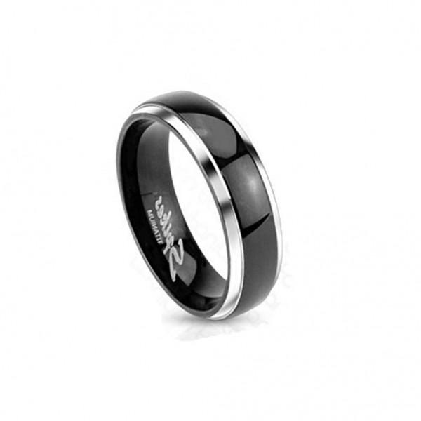 Titan Ring silber 8mm breit schwarzes Band mit Kuppel 60 (19) - 69 (22)