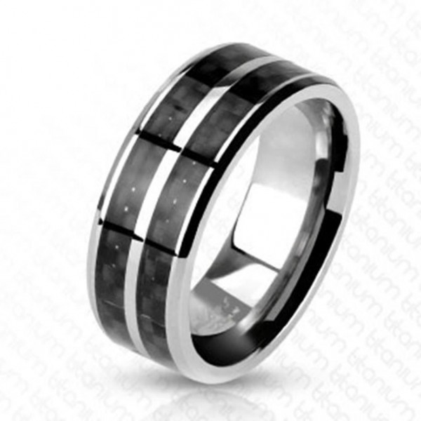 "Titan Herren Damen Ring silber black ""Carbon Fiber Inlay"""