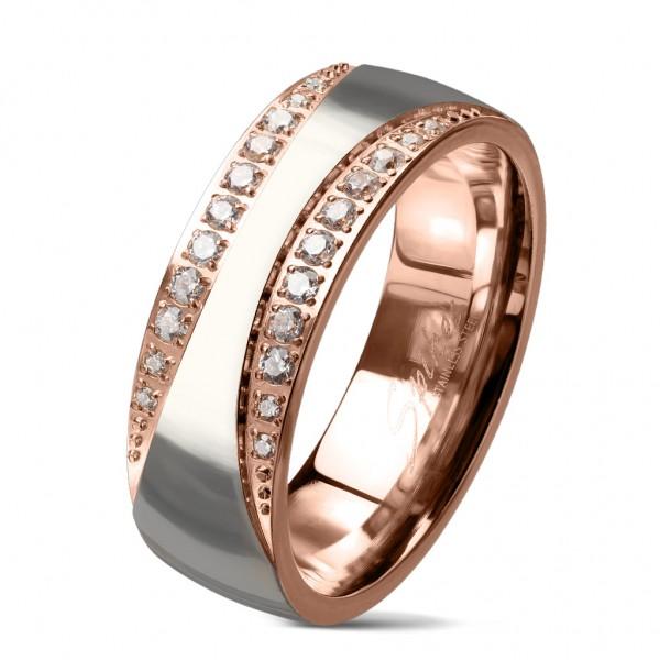 Tapsi´s Coolbodyart®| Fingerring Bandring Edelstahl 316L Roségold-Silber Poliertes Zentrum Zirkonia