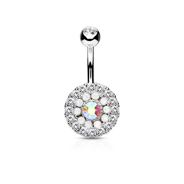 Nabelpiercing Bananabell Edelstahl Chirurgenstahl Kreiszeichen mit Kristall u Opal