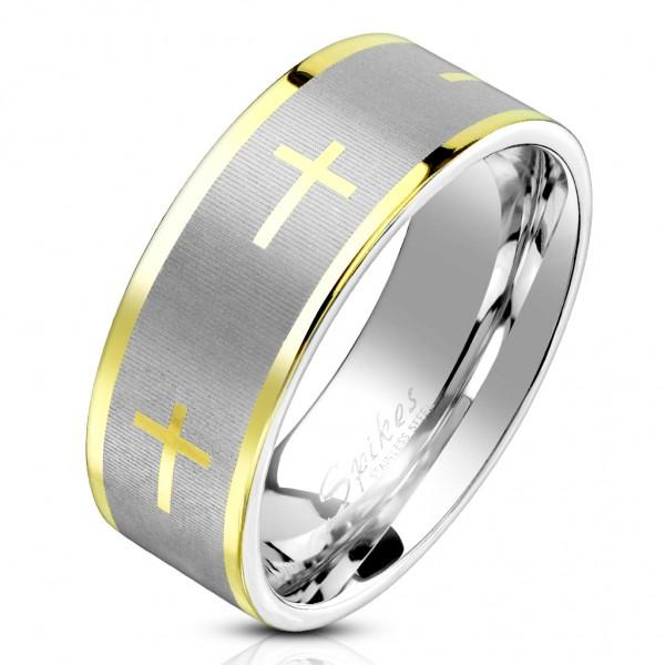 Tapsi´s Coolbodyart®| Fingerring Statementbandring Edelstahl Silber gebürstet Kreuz Gold Rand Gold G