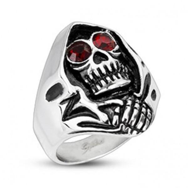 Unisex Edelstahl Ring Sensenmann mit roten Augen