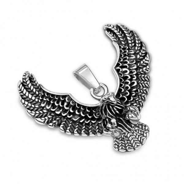 Tapsi´s Coolbodyart®|Statement Kettenanhänger Edelstahl Fliegender Adler Schwarz Silber