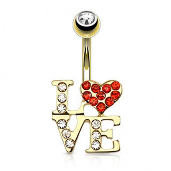 """Coolbodyart Chirurgenstahl 14 Karat vergoldet Bauchnabelpiercing Logo """"LOVE"""" ..."""